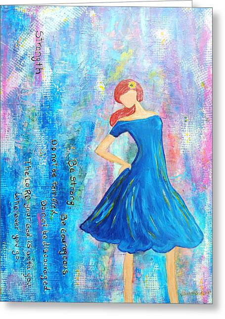 Scripture Greeting Cards - Girl in blue dress Greeting Card by Lauretta Curtis