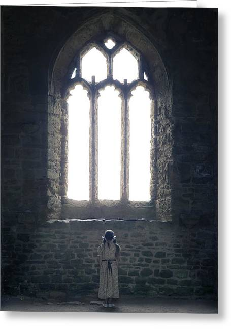 Anonymous Greeting Cards - Girl In Chapel Greeting Card by Joana Kruse