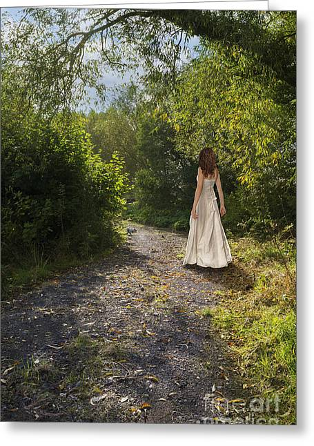 Girl In Country Lane Greeting Card by Amanda And Christopher Elwell