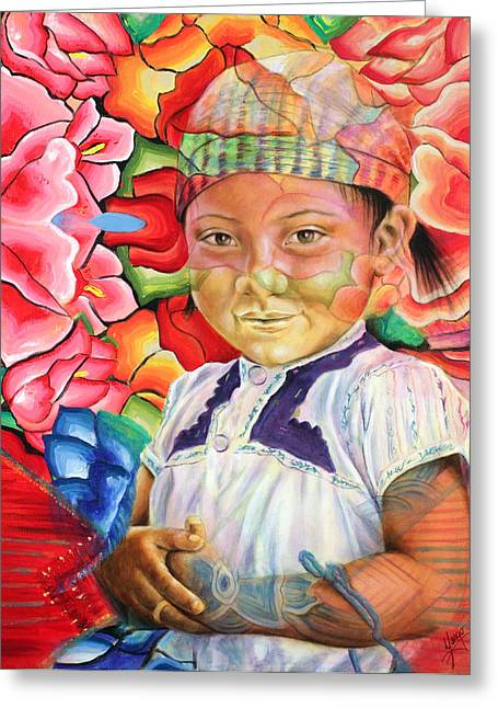 Indigenous Greeting Cards - Girl in flowers Greeting Card by Karina Llergo Salto