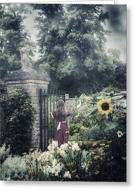Vernal Greeting Cards - Girl In Gardens Greeting Card by Joana Kruse
