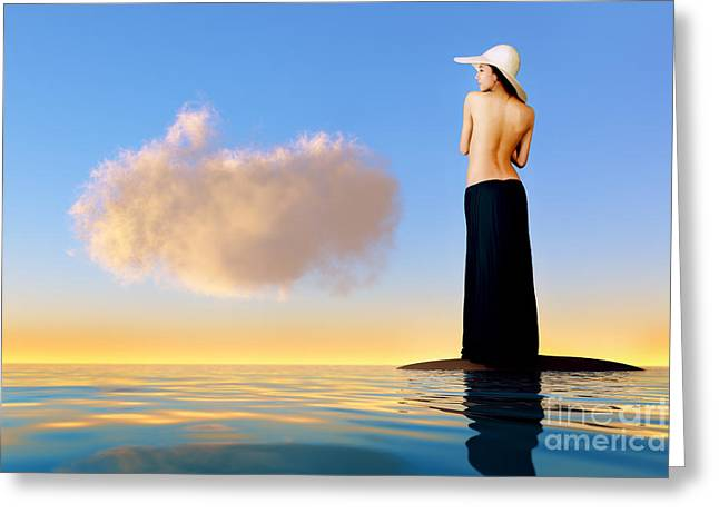 Satisfaction Greeting Cards - Girl In Hat On Rock Greeting Card by Aleksey Tugolukov