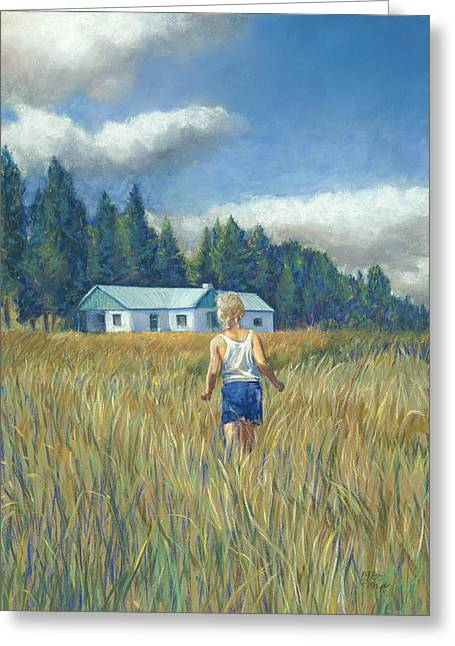Birdseye Greeting Cards - Girl in Hayfield Greeting Card by Nick Payne