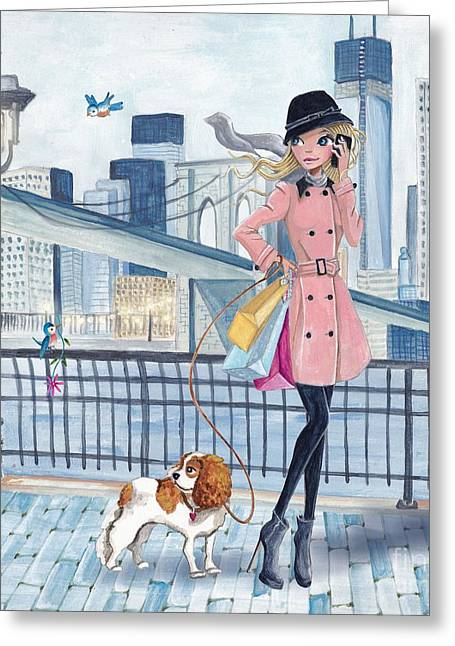 Calling Mixed Media Greeting Cards - Girl in New York Greeting Card by Caroline Bonne-Muller