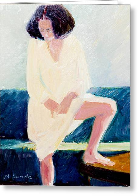 Nightshirt Greeting Cards - Girl in Nightshirt Greeting Card by Mark Lunde