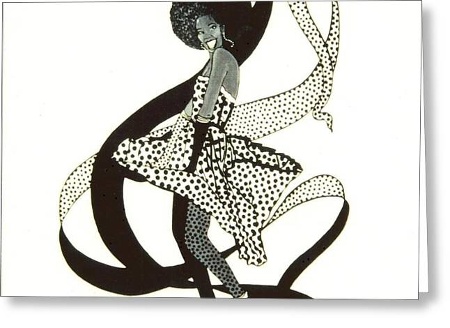 Girl in Polkadot Dress Greeting Card by Sigrid Tune
