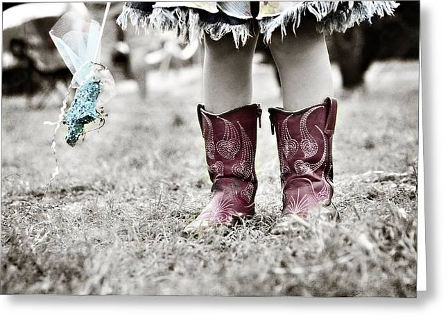 Cowgirl Skirt Greeting Cards - Girl in Red Boots Greeting Card by Angela Bonilla