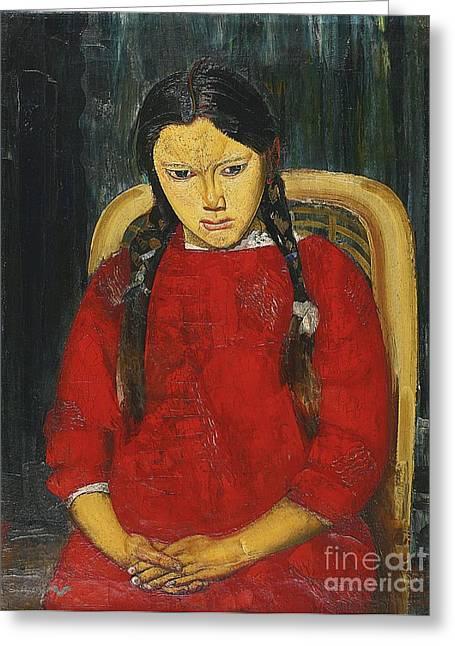 Orthodox Paintings Greeting Cards - Girl In Red Greeting Card by Boris Grigoriev