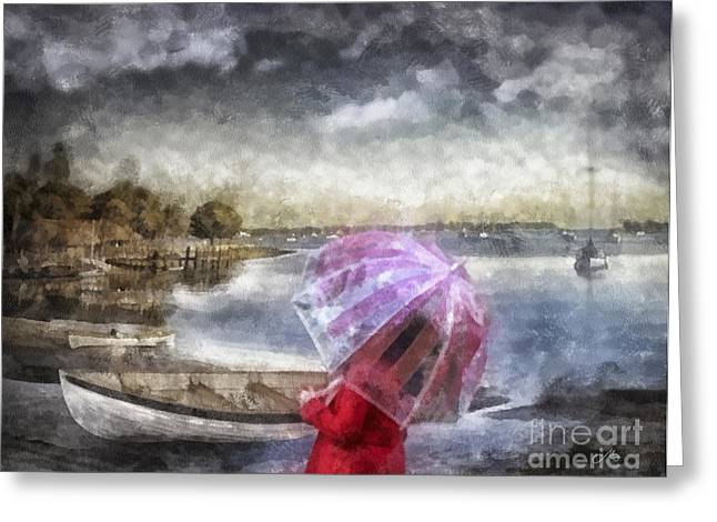 Girl In Water Greeting Cards - Girl in Red Coat Greeting Card by Mo T