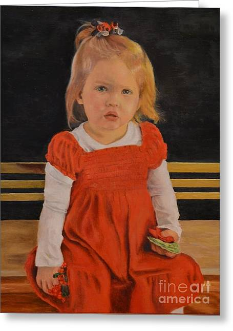 Faa Featured Paintings Greeting Cards - Christmas Girl Greeting Card by Ralph Taeger