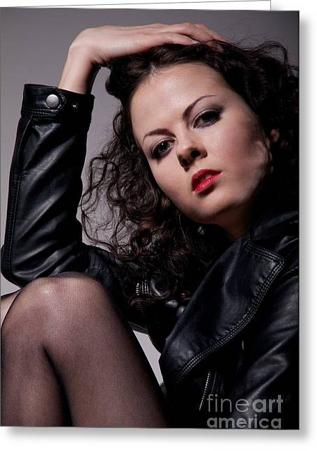 Leather Jackets Greeting Cards - Girl In Stockings Sitting Greeting Card by Aleksey Tugolukov