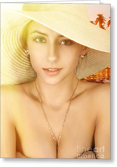 Girl In Straw Hat Greeting Card by Aleksey Tugolukov