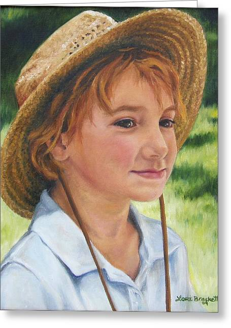 Worn In Paintings Greeting Cards - Girl in Straw Hat Greeting Card by Lori Brackett