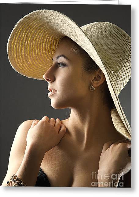 Satisfaction Greeting Cards - Girl In Straw Hat Toned Greeting Card by Aleksey Tugolukov