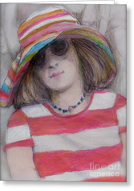 Sun Hat Mixed Media Greeting Cards - Girl in Sun Hat Greeting Card by Cecily Mitchell