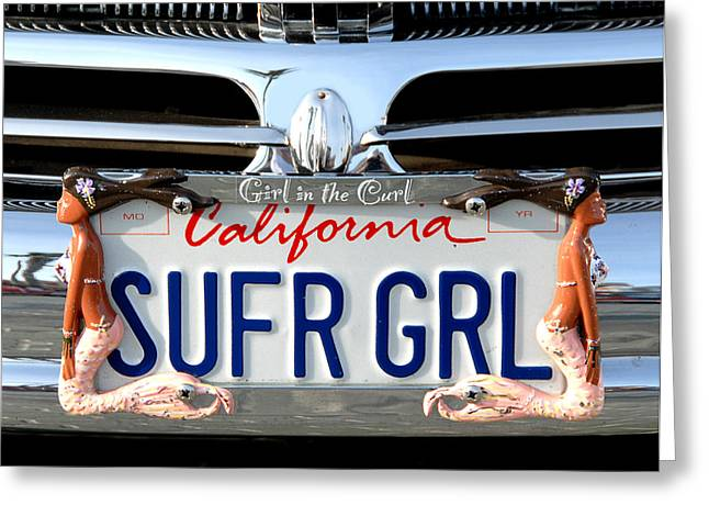 Beach Cruiser Greeting Cards - Girl in the Curl Greeting Card by Ron Regalado