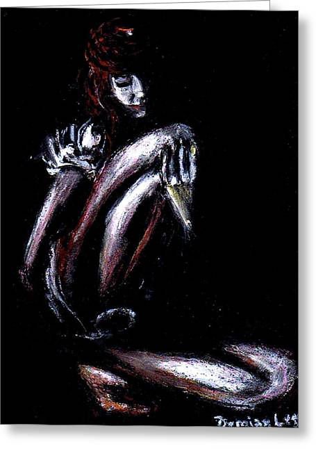 Dramatic Pastels Greeting Cards - Girl In The Dark Greeting Card by Demian Legg