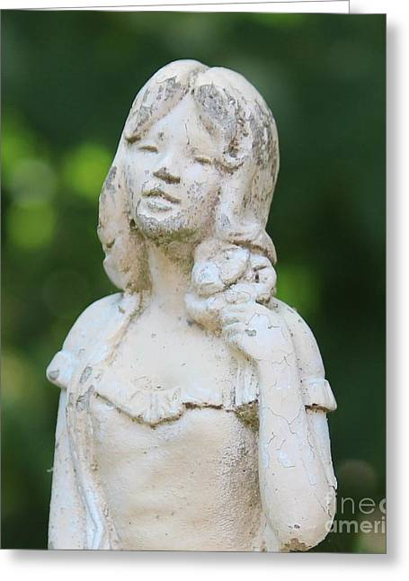 Stone Ceramics Greeting Cards - Girl in the Garden Statue Greeting Card by Cynthia Snyder