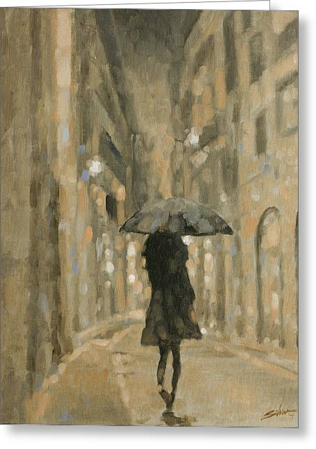 Storm Prints Greeting Cards - Girl in the rain Greeting Card by John Silver