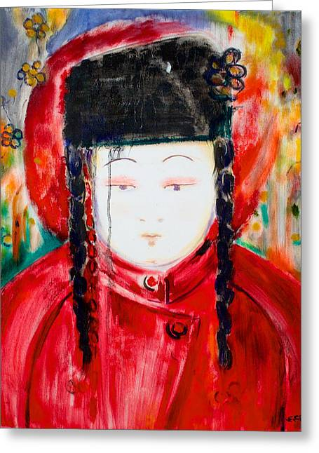 Thin Eyebrows Greeting Cards - Girl in the Red Coat Greeting Card by Elizabeth Petersson