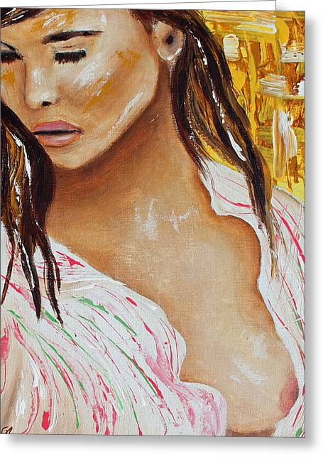 Tara Richelle Art Greeting Cards - Girl in the silk blouse Greeting Card by Tara Richelle
