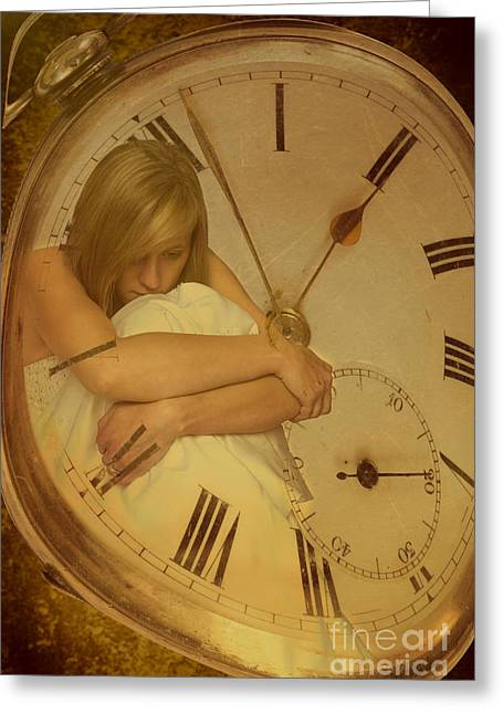 Waiting Photographs Greeting Cards - Girl In White Dress In Pocket Watch Greeting Card by Amanda And Christopher Elwell