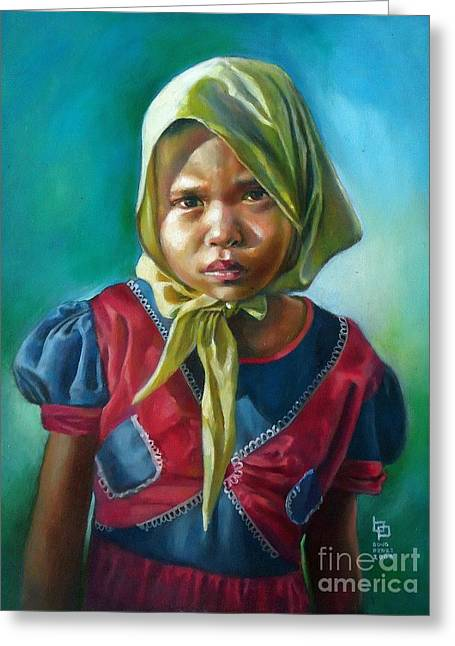 Filipino Artists Greeting Cards - Girl in Yellow Bandana Greeting Card by Bong Perez