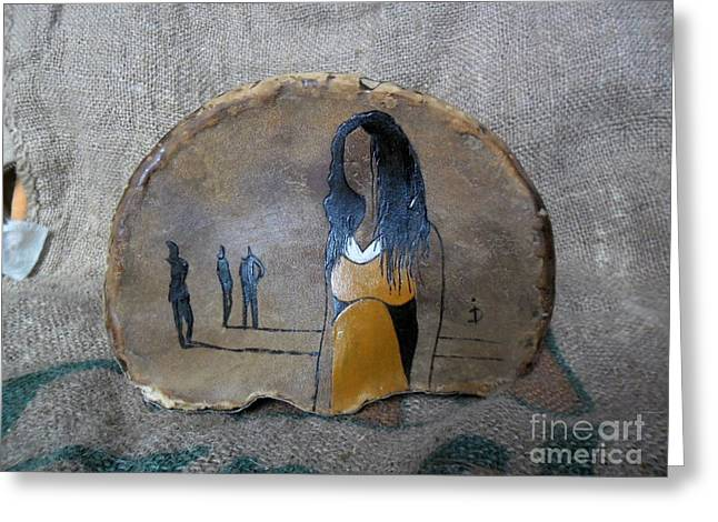 Yellows Reliefs Greeting Cards - Girl In Yellow Greeting Card by Ildiko Decsei