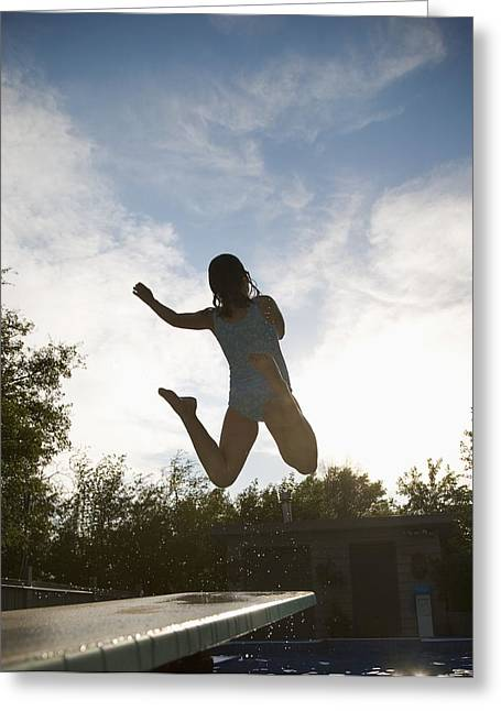 Recreational Pool Greeting Cards - Girl Jumping Into Pool Greeting Card by Kelly Redinger