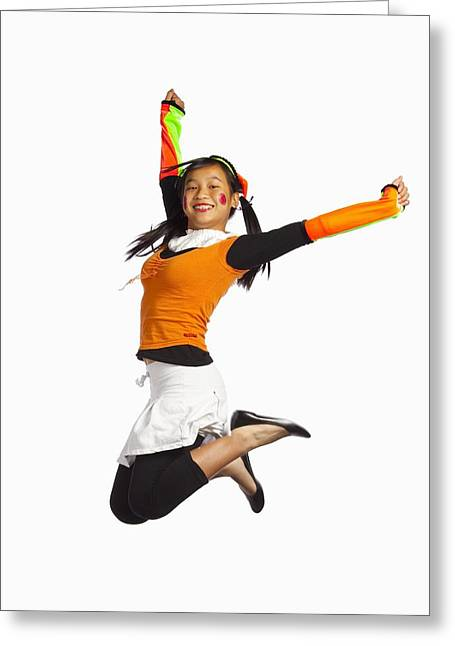 Girl Jumping Greeting Card by Ron Nickel
