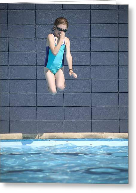 Recreational Pool Greeting Cards - Girl Jumps Into The Pool Greeting Card by Kelly Redinger
