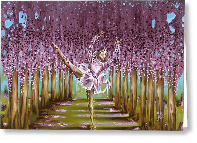 Expressionist Girl Greeting Cards - Blossom Greeting Card by Karina Llergo Salto
