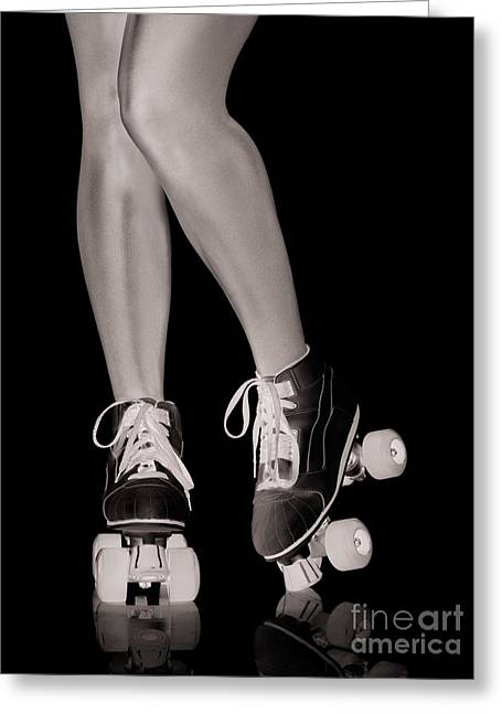 Girl Legs In Roller Skates Artistic Concept Greeting Card by Oleksiy Maksymenko