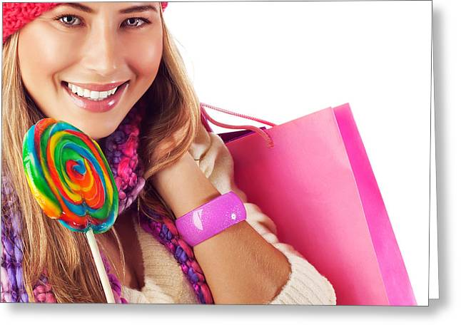 Sweetmeats Greeting Cards - Girl lick sweets and holding pink bag Greeting Card by Anna Omelchenko