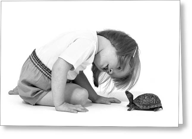 Girl Looking At Box Turtle, C.1960s Greeting Card by L. Fritz/ClassicStock