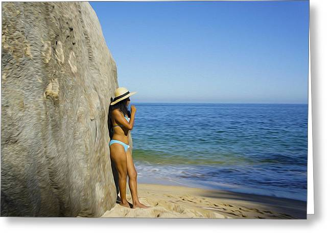 People Digital Art Greeting Cards - Girl looking at the ocean Greeting Card by Aged Pixel
