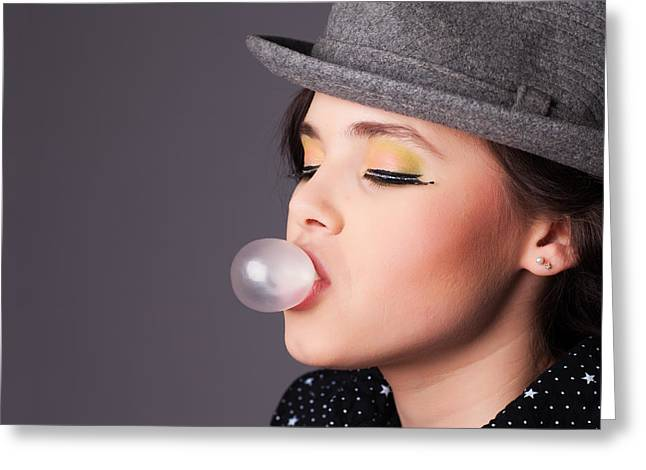 Feminity Greeting Cards - Girl Making a Bubble Portrait Greeting Card by Artur Bogacki
