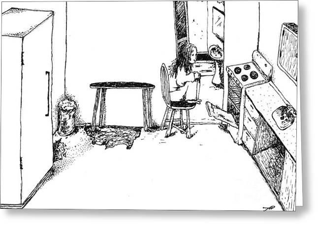 Bad Drawing Greeting Cards - Girl Near a Stove Greeting Card by Tanya Hamell