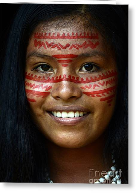 Native Peoples Greeting Cards - Girl Of The Amazon 2 Greeting Card by Bob Christopher
