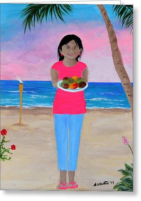 Mango Paintings Greeting Cards - Girl on a Beach with Mangoes Greeting Card by Amy Scholten