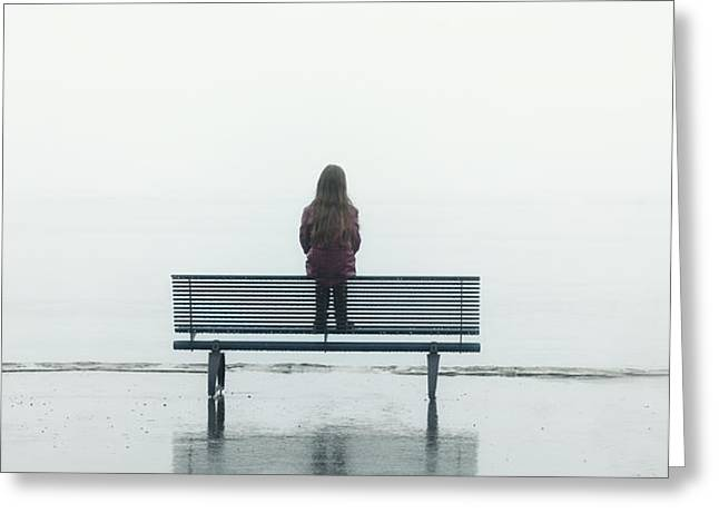 girl on a bench Greeting Card by Joana Kruse