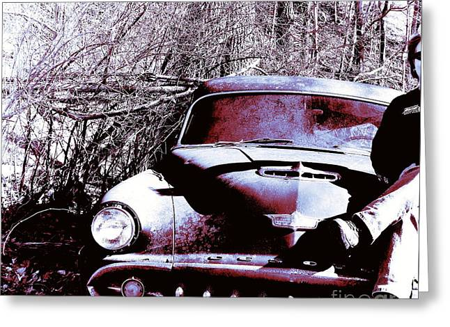 Pendleton County Greeting Cards - Girl On A Desoto Greeting Card by Teena Bowers