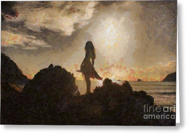 Mount Maunganui Greeting Cards - Girl on a rock Greeting Card by Gee Lyon