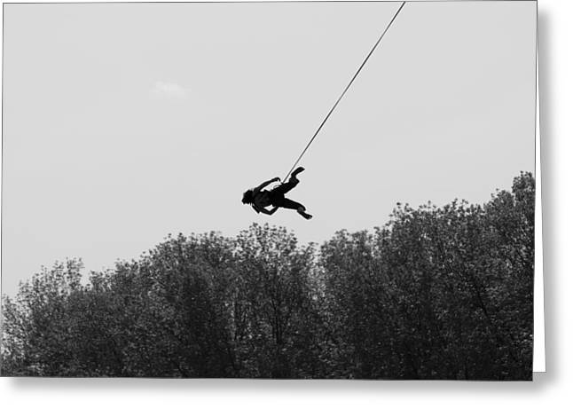 Audacity Greeting Cards - Girl on a rope Greeting Card by Nikita Buida