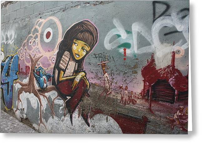 Grafity Greeting Cards - Girl on a wall Greeting Card by Jan Katuin