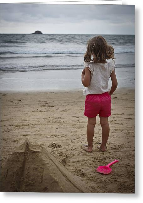 Girl On Beach Greeting Card by Kevin Barske