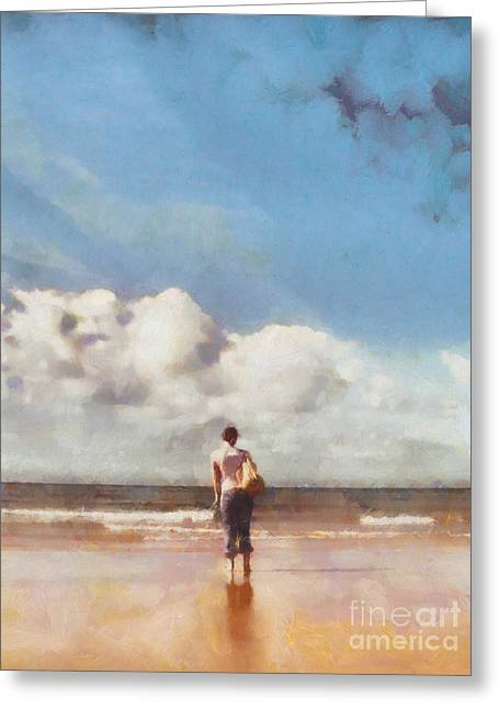 Impressionism Digital Greeting Cards - Girl on beach Greeting Card by Pixel Chimp