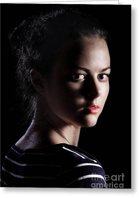 Girl On Black Greeting Card by Aleksey Tugolukov