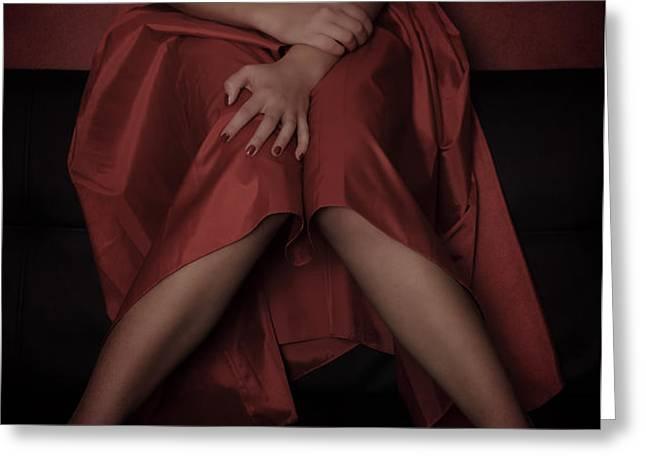 girl on black sofa Greeting Card by Joana Kruse