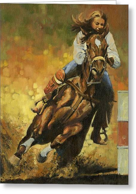 Girl Barrel Racing Greeting Card by Don  Langeneckert